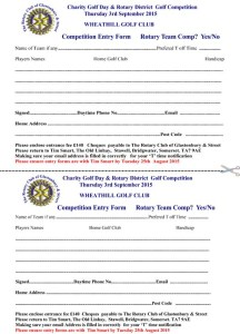 Rotary Golf Day Entry Form 2015