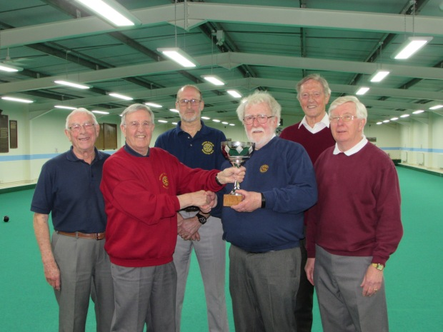 from left to right is Roy Hunt, Brian Aston and Mike Batchelor from Wrington with Rikki Batts, Tony Murray and Peter Nett from Taunton on the right.